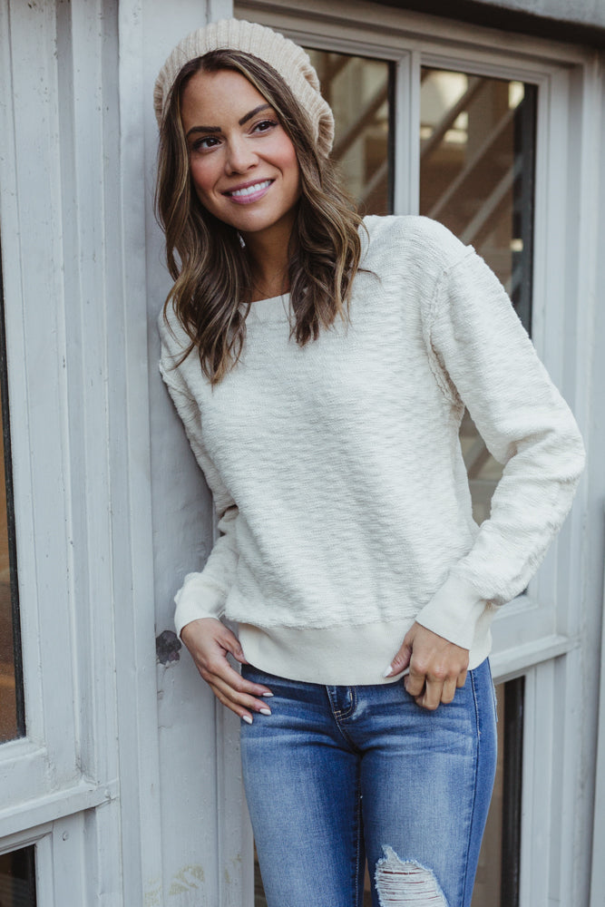 Calm Waters White Pullover Sweater
