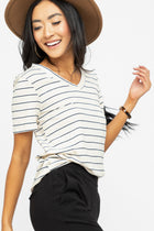 Simone V-Neck Stripe Tee in Cream - Bohme