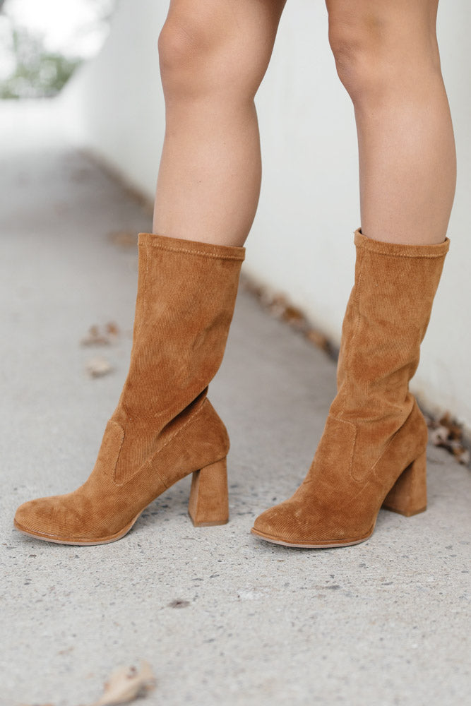 Noelani Corduroy Boots in Tan-FINAL SALE