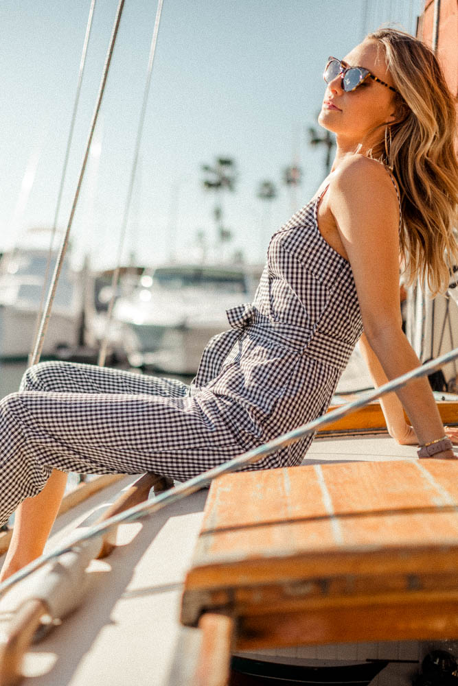 gingham jumpsuit cropped bohme