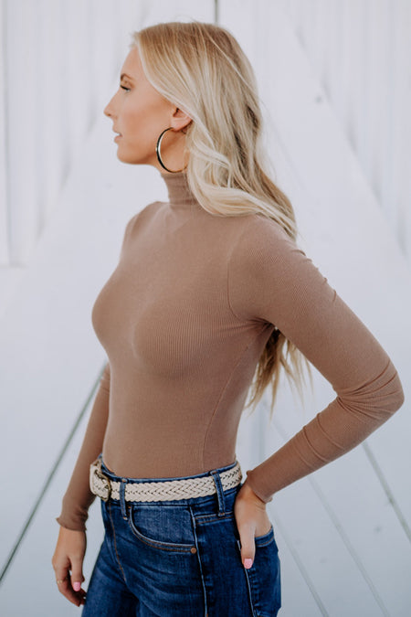 Charlie Turtleneck Top in Camel