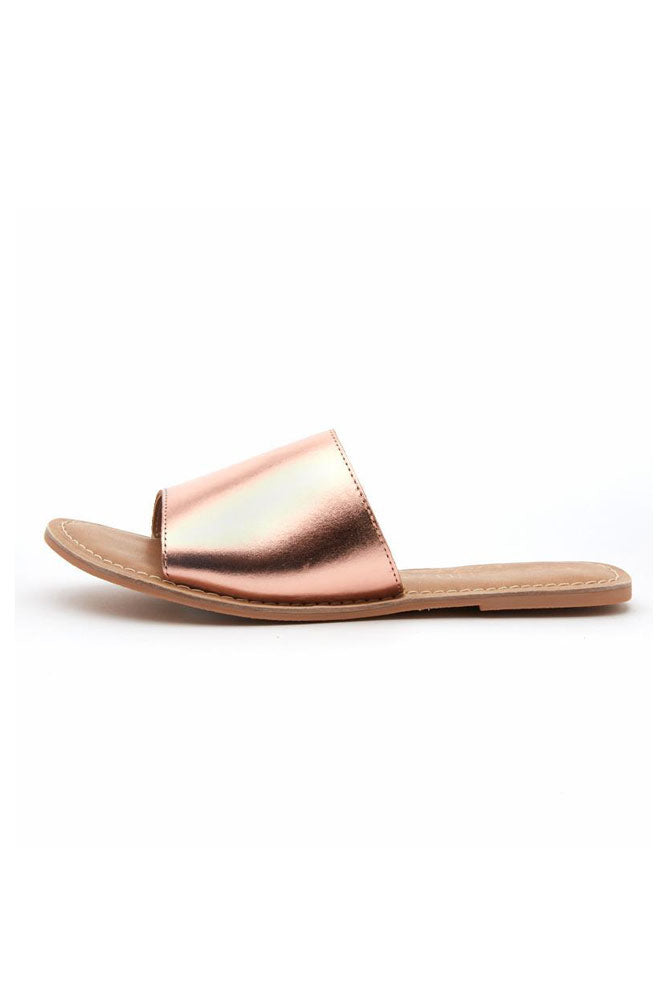 Under the Cabana Rose Gold Slide On Sandals