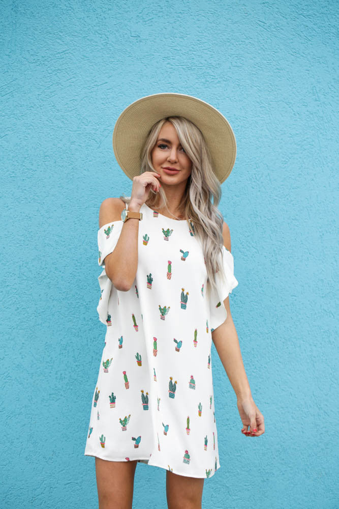 Cactus Cold Shoulder Dress