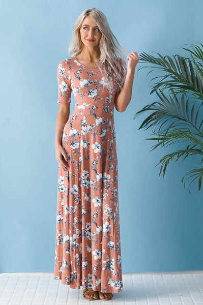 Dusty Rose Floral Maxi