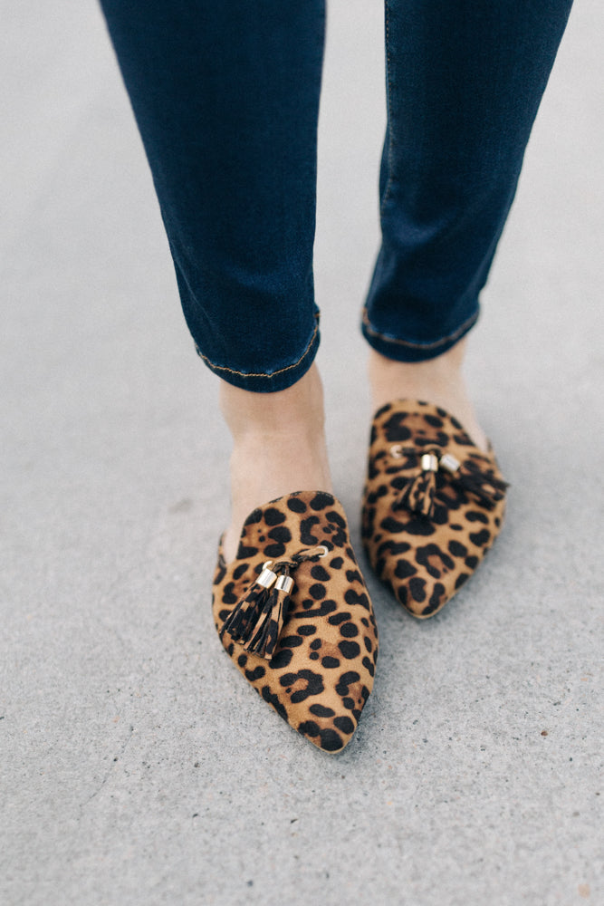Jules Tassel Slide On Mule Flats in Leopard Print