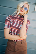 Free and Easy Striped Mock Neck Top in Rust - Bohme