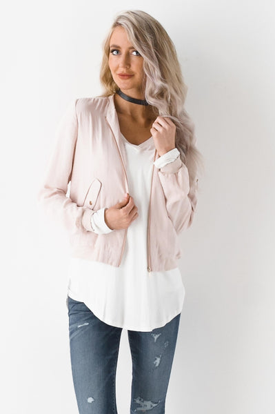 Rosy Cheeks In Satin Bomber Jacket