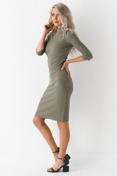 All About Your Curves Mock Neck Ribbed Dress