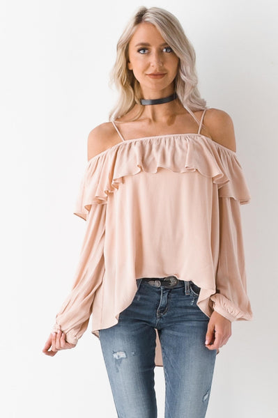Flower Blossom Cold Shoulder Ruffle Top
