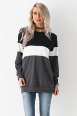 Game Time In Color Block Knit Sweater