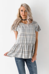 The Classic Plaid On Ruffles Printed Blouse