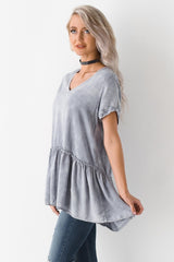 Walking Through The City Mineral Wash Babydoll Blouse