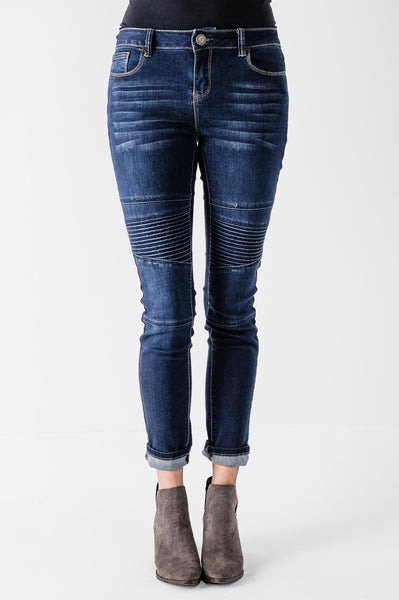 Blue Denim Moto Skinny Jeans