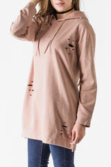 Distressed Tunic Hoodie