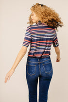 Free and Easy Striped Mock Neck Top in Navy