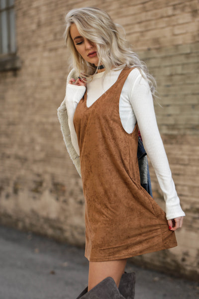 Brown Suede Ribbed Top Dress