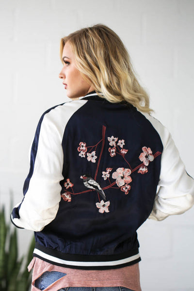 Reversible Satin Embroided Bomber