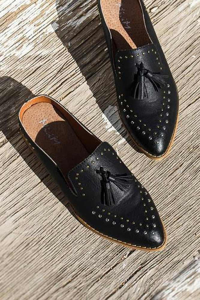 Work and Play Studded Black Mules