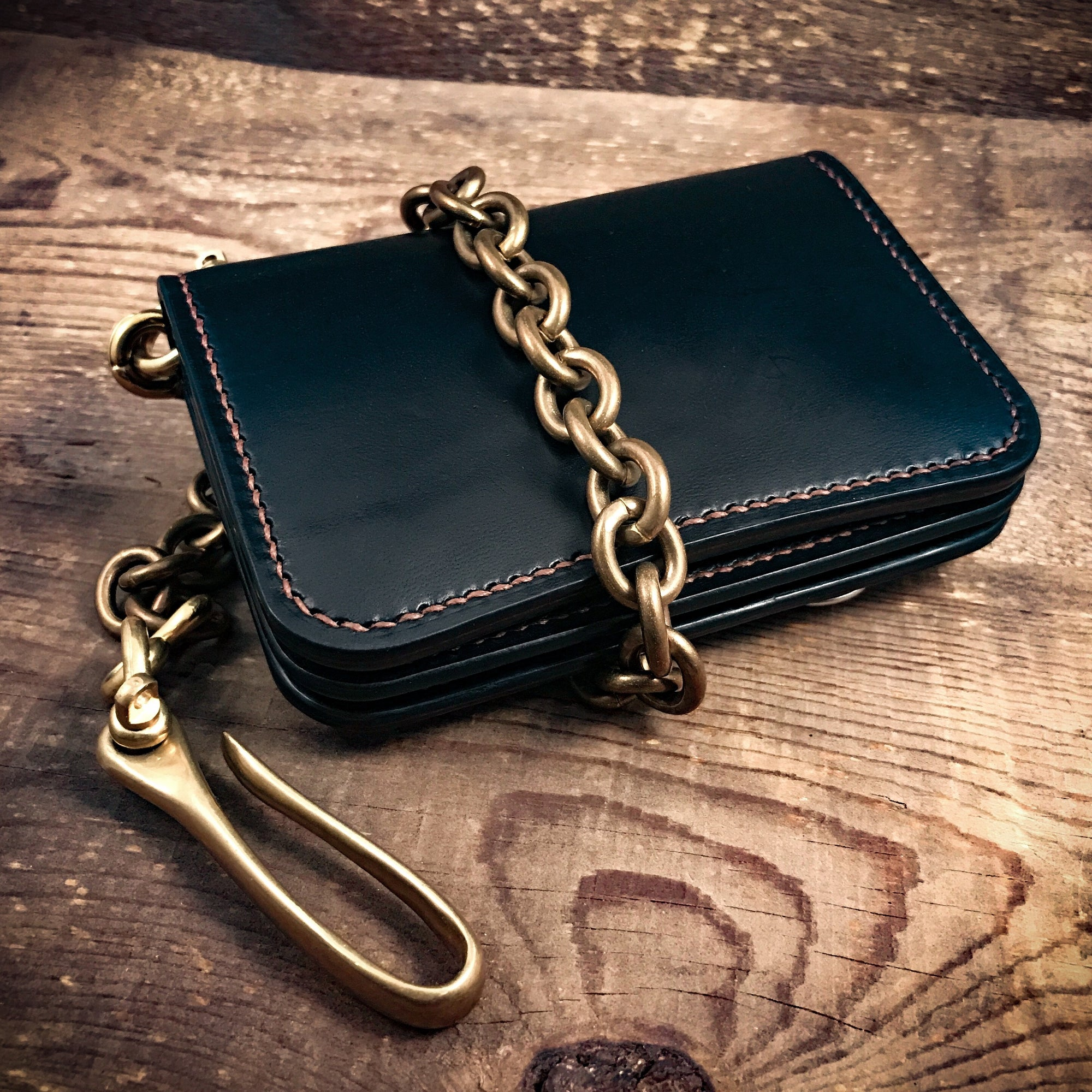 hand made trucker wallets with brass saftey chain