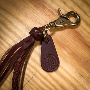 4-Strand Leather Braided Wallet lanyard Karabiner.