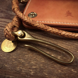 TexuCrafts Wallet Lanyard Kangaroo Leather Braided Wallet lanyard Fishhook