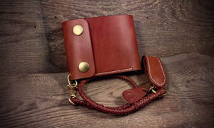 TexuCrafts Wallet Lanyard Leather Braided Wallet Belt Loop.
