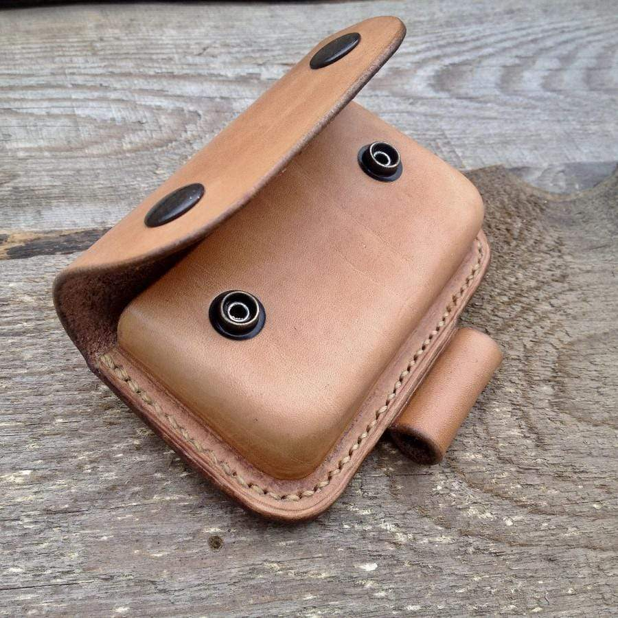 TexuCrafts Wilderness Natural Bushcraft Leather pouch for Altoids tin With Fire Steel Loop