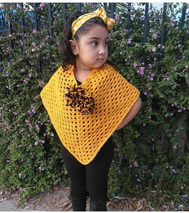 Crochet Poncho with pompom kids toddlers, Mustard color poncho