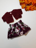 Rosey Fall Burgundy Skirt