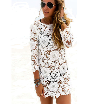 Floral Crochet Swimsuit Cover Up Beach Dress Fabrik Fitness Wear