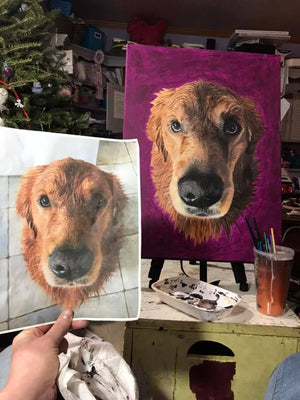 L1: Original Hand Painted, Custom (Your Pet) Single Pet Portrait