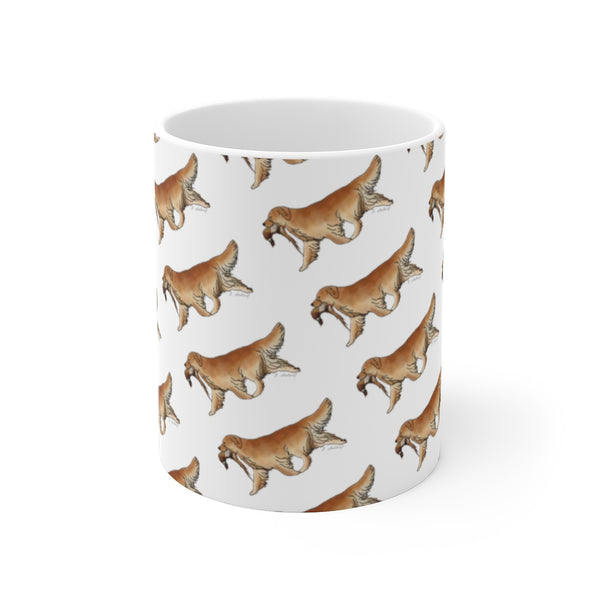 White Ceramic Mug Golden Retriever