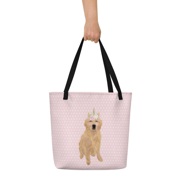 Golden Retriever Unicorn Beach Bag