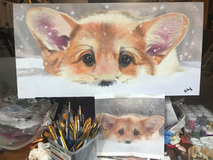 Corgi in the Snow 12x24 canvas board