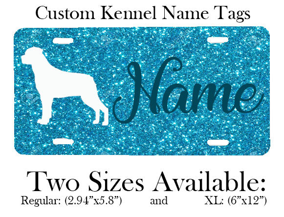 "Custom Kennel & Crate Tags: Regular (2.94"" x 5.8"") & Extra Large (6""x12"")"