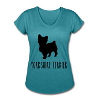 Yorkshire Terrier Women's Tri-Blend V-Neck T-Shirt - heather turquoise