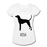 Vizsla Women's Tri-Blend V-Neck T-Shirt - white