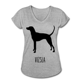 Vizsla Women's Tri-Blend V-Neck T-Shirt - heather gray