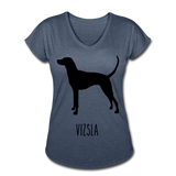 Vizsla Women's Tri-Blend V-Neck T-Shirt - navy heather