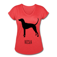 Vizsla Women's Tri-Blend V-Neck T-Shirt - heather red