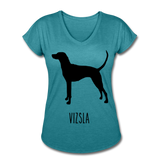 Vizsla Women's Tri-Blend V-Neck T-Shirt - heather turquoise