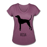Vizsla Women's Tri-Blend V-Neck T-Shirt - heather plum