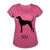 Vizsla Women's Tri-Blend V-Neck T-Shirt - heather raspberry