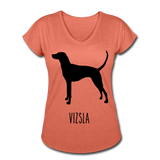 Vizsla Women's Tri-Blend V-Neck T-Shirt - heather bronze