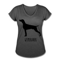 Weimeraner Women's Tri-Blend V-Neck T-Shirt - deep heather