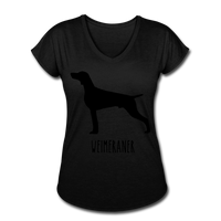 Weimeraner Women's Tri-Blend V-Neck T-Shirt - black