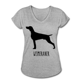 Weimeraner Women's Tri-Blend V-Neck T-Shirt - heather gray
