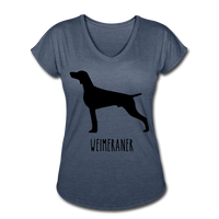 Weimeraner Women's Tri-Blend V-Neck T-Shirt - navy heather