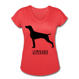 Weimeraner Women's Tri-Blend V-Neck T-Shirt - heather red
