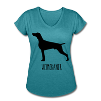 Weimeraner Women's Tri-Blend V-Neck T-Shirt - heather turquoise